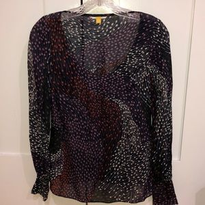 Leifsdottir pattern scoop neck long sleeve blouse